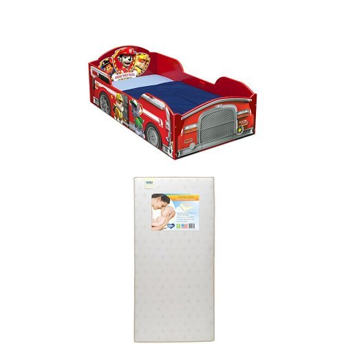 Delta Children Wood Toddler Bed, Nick Jr. PAW Patrol  with Twinkle Stars Crib & Toddler Mattress