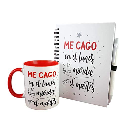 Pack DE LIBRETA Y Taza Frase ME CAGO EN LOS Lunes Y ME SOBRA ...
