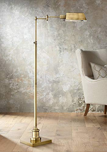 Jenson Modern Pharmacy Floor Lamp Aged Brass Adjustable Swing Arm Metal Shade for Living Room Reading Bedroom Office - Regency Hill