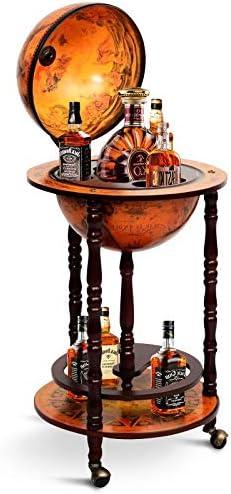 HAPPYGRILL Wine Bar Stand Italian Wooden Globe Wine Rack Liquor Bottle Shelf 16th Century Retro Wine Cupboard