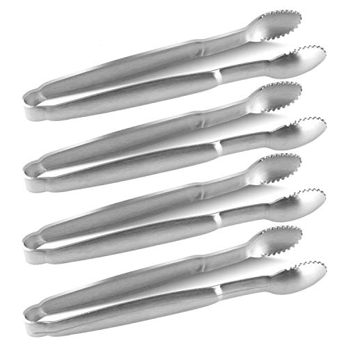 LINPOZONE 4-Piece Sugar Tongs 4-Inch Mini Appetizer for Tea Party, Appetizer, Dessert and Cheese, Coffee Bar,