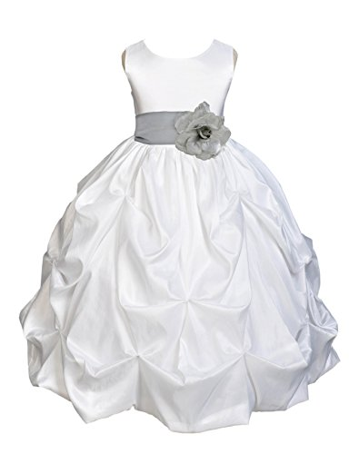 Sash Taffeta Wedding Dress (Wedding Pageant White Bubble Taffeta Flower Girl Dress Baptism Communion 301s 8)