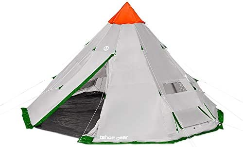 Tahoe Gear Bighorn XL 18 x 18 12 Person Teepee Cone Shape Camping Tent