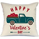 AENEY Valentines Pillow Cover 18x18 for Couch Truck Love Red Sweet Heart Happy Valentine's Day Decorations Throw Pillow Home Decor Pillowcase Faux Linen Cushion Case Sofa A177