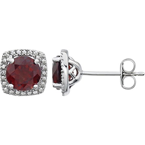 Jewels By Lux Set 925 Sterling Silver Genuine Mozambique Garnet Pair Polished .015 CTW Diamond Birthstone Earrings -