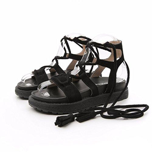 Sandales Femme Plateforme 34 Vintage Ouvert Bout Sandales Chaussures à 43 Confortable Noir Lanières JRenok AST58xw