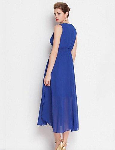 PU&PU Robe Aux femmes Mousseline de Soie / Swing Bohème,Couleur Pleine Col Arrondi Midi Rayonne , blue-l , blue-l