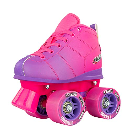 Crazy Skates Rocket Roller Skates for Girls and Boys - Great Beginner Kids Quad Skates - Pink and Purple Patines (Size Jr10) ()