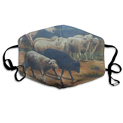 YUANSHAN Dust Mask Sheep Antique Oil Painting Pastoral Cows Outdoor Mouth Mask Anti Dust Mouth Mask for Man -