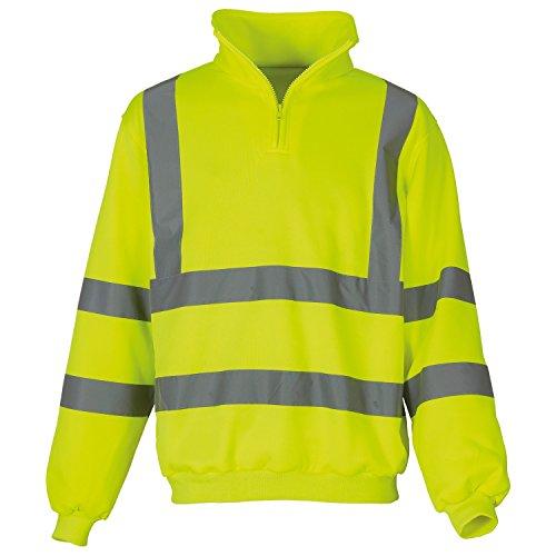 Yoko Mens Hi Vis 1/4 Zip Sweatshirt (M) (Yellow) (1/4 Heavyweight Zip Sweatshirt)