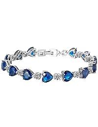EleQueen Women's Silver-tone Full Zircon Love Heart Tennis Bracelet, 6.7''+1.4'' Extender
