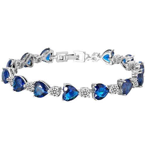 EleQueen Women's Silver-tone Full Cubic Zirconia Love Heart Bridal Tennis Bracelet Sapphire Color, 6.7''+1.4'' Extender