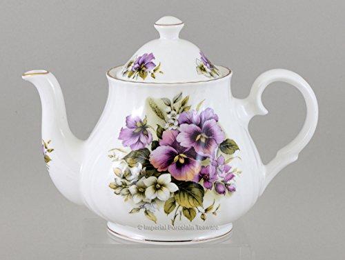 Pansy 6 Cup Teapot - Fine English Bone China