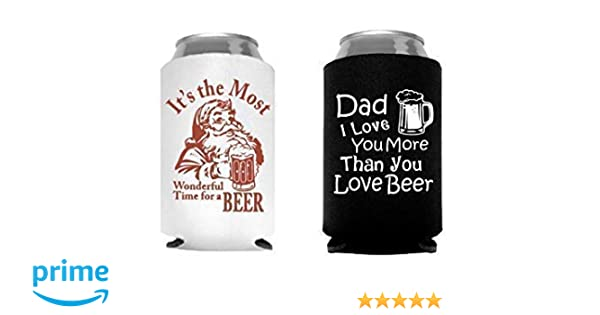 ca85a44a987d Amazon.com: Funny Fathers Day Gift for Men Dad Husband Santa Beer Can  Cooler - Set of 2: Handmade