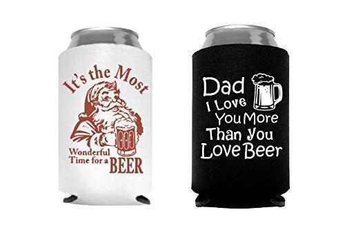 Funny Christmas Stocking Stuffer for Men Dad Husband Santa Beer Can Cooler - Set of 2