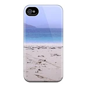 Flexible Tpu Back Case Cover For Iphone 4/4s - Mountain Bike Leaning On A Beach Dune