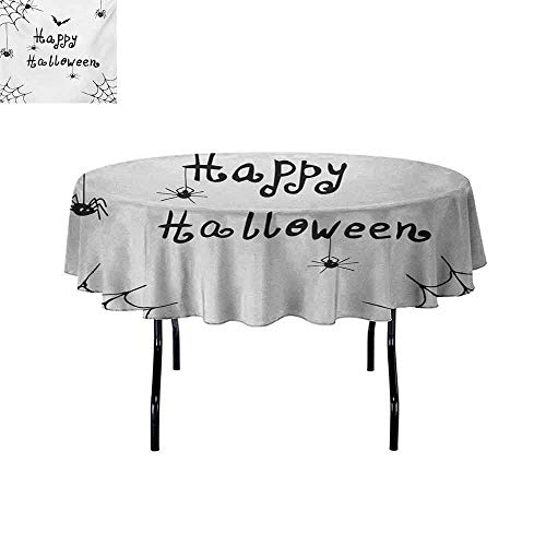 GloriaJohnson Spider+Web+Anti-Wrinkle+and+Anti-Wrinkle+Polyester+Happy+Halloween+Celebration+Monochrome+Hand+Drawn+Style+Creepy+Doodle+Artwork+for+Weddings/banquets+D59+Inch+Black+White+]()