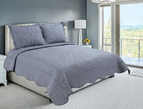 Beauty Sleep Bedding Luxury Embroidered Reversible 3 Pieces Quilt Set with 2 Quillted Shams, Gray Color, Queen Size