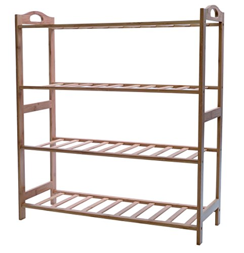 Melange 100% Natural Bamboo Shoe Rack | Extra-Strong MOSO Bamboo Entryway Shelf | 4 Tier Back/Front Door Shoe Rack | Versatile Wooden Organizer for Shoes, Toiletries, Towels & More (All Natural Storage Wooden Bench)