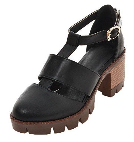 VogueZone009 Women Buckle PU Round-Toe Kitten-Heels Solid Sandals Black
