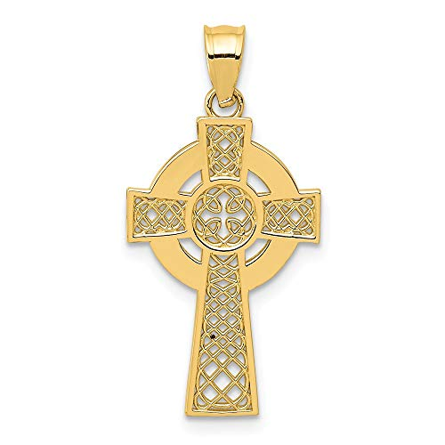(14k Yellow Gold Irish Claddagh Celtic Knot Cross Religious Pendant Charm Necklace Iona Fine Jewelry Gifts For Women For Her)