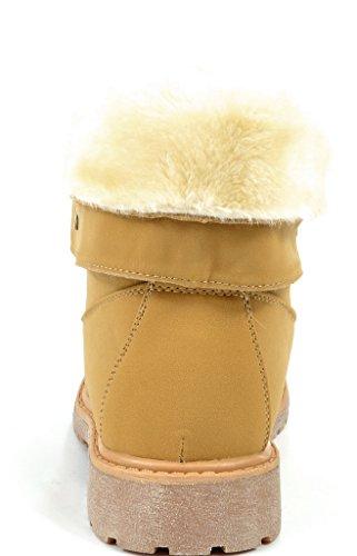 DREAM PAIRS Damen Winter Kunstpelz gefütterte Kragen Gummi Outsole Snow Ankle Boots Booties Montreal-Weizen