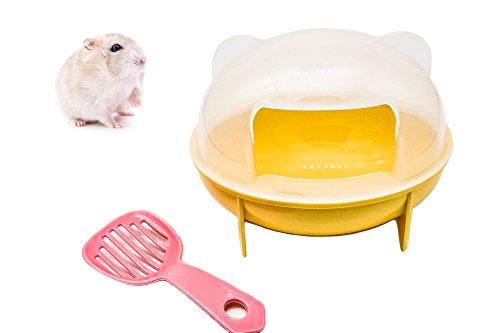 (YouMe Go Cat Ear Design Dwarf Hamster Gerbil Sand Bath Room with Shovel (Yellow))