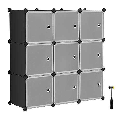 (SONGMICS Cube Storage Organizer, 9-Cube DIY Plastic Closet Cabinet, Modular Bookcase, Storage Shelving with Doors for Bedroom, Living Room, Office, 36.6