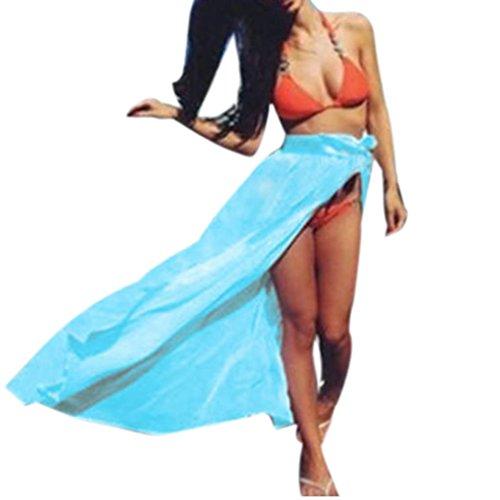 Las mujeres cubren para bikini, Ouneed Las mujeres de Gasa Wrap Dress pareo playa bikini traje de baño Azul