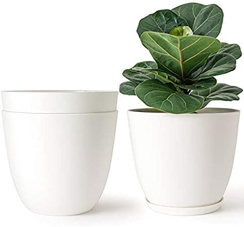 Mkouo 16.5cm Jardineras plásticas Interior Set of 3 Macetas de Flores Decorativos Modernos Maceta de jardineria con Drenaje para Todas Las Plantas de casa, Beige