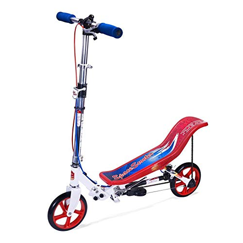 SpaceScooter Push Board Teeter Totter Kids Scooter with Brake, Air Suspension & Compact Fold - Red / White / Blue
