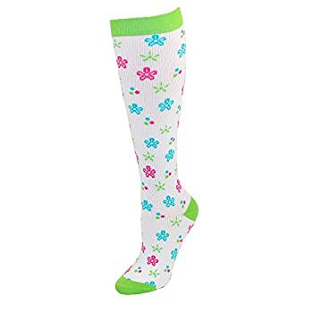 Think Medical Women's Floral Print 10-14 Mmhg Compression Sock X-Large Flower Power