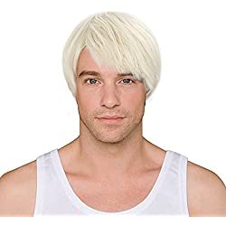 Blonde Short Wig,Acecharming Men Fashion Synthetic Hair Wigs For Daily Use with Wig Cap