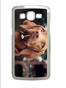 case uncommon cover dog with flower PC Transparent case/cover for Samsung Galaxy Grand 2/7106