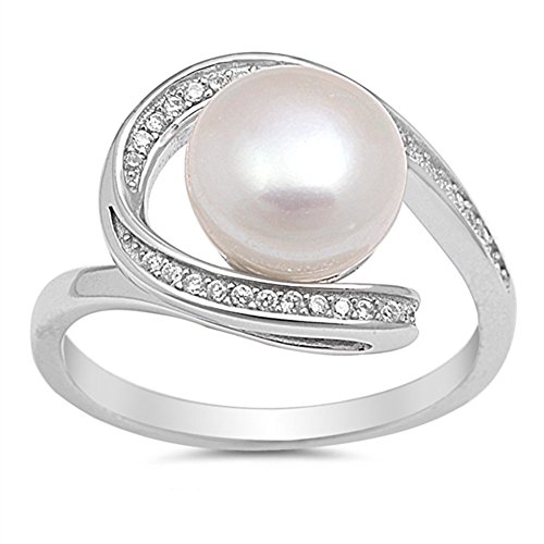- Clear CZ Simulated Pearl Swirl Ring New .925 Sterling Silver Band Size 10