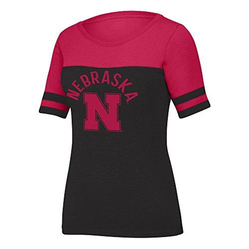 (J America NCAA Nebraska Cornhuskers Women's Stadium Tee, Small, Black Heather/Red)