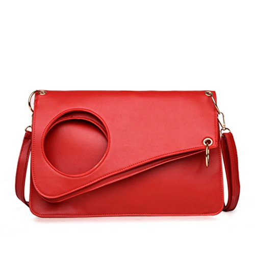 - Coofig Women Leather Top Round Hole Summer Handbags Satchel Purse Shoulder Bag Tote Bag (Red)