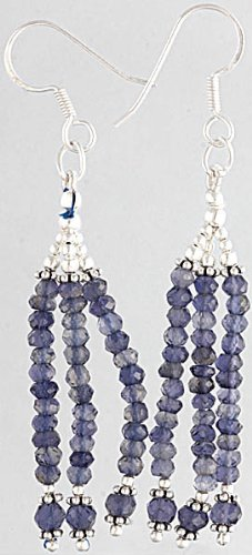 Faceted Iolite Shower Earrings - Sterling Silver