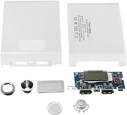 Malloom Kit de energía móvil 5V 12000mah Dual USB Power Bank 18650 Caja del Cargador de batería Caja de Bricolaje para el teléfono (Blanco): Amazon.es: Electrónica