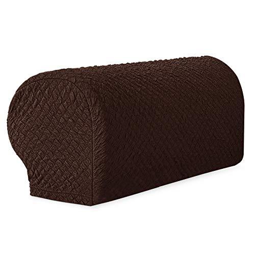 Arm Chair Loveseat - TOYABR Stretch Jacquard Sofa Armrest Cover Seersucker Spandex Anti-Slip Armchair Slipcovers Furniture Protector (2PCS, Chocolate)