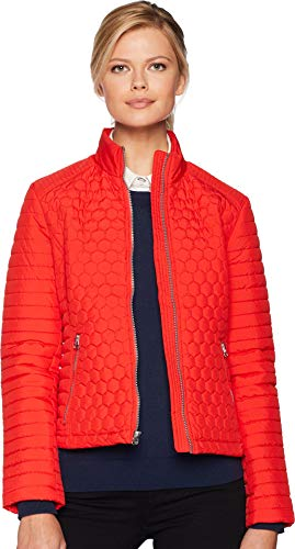 Marc New York by Andrew Marc Women's Linden Honeycomb Mini Quilted Scuba Jacket Red ()