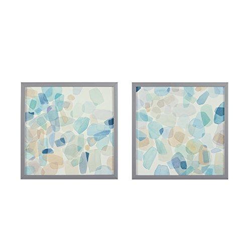 Wall Art Framed Tile - Intelligent Design Gemstone Tiles Blue Framed Canvas Wall Art 16.25X16.25, Abstract Casual Wall Décor