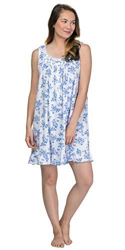 Eileen West Women's Cotton Modal Pointelle Knit Sleeveless Short Nightgown White Ground Multi Floral X-Large ()