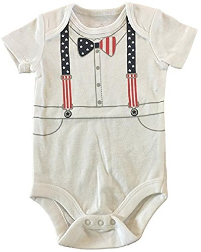 Babys Red Wagon - Patriotic America Red, White & Blue Sailor Baby Onesie Creeper Bodysuit Girls & Boys (Baby Boy Nautical Sailor Suspenders, 12M)