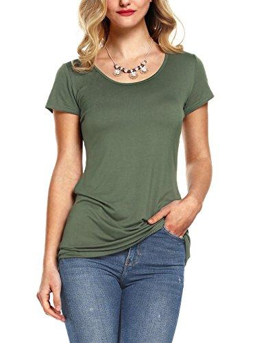Amoretu Women Summer Short Sleeve Round Scoop Neck Cotton T-Shirt (Army Green, M)