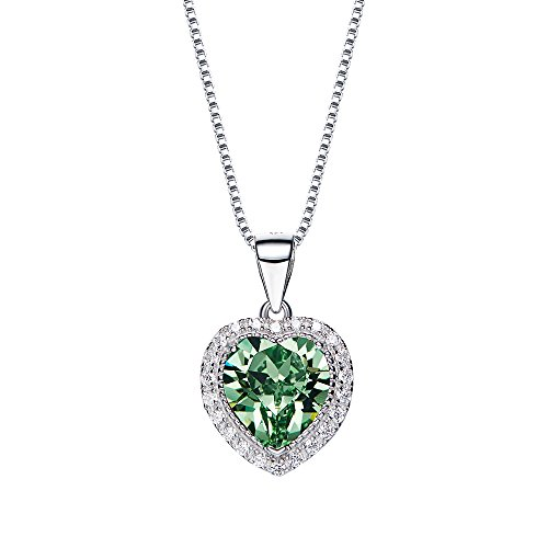 Crystal Necklace Austrian Swarovski (Fuegoelves 925 Sterling Silver Austrian Crystal Love Heart 12 Birthstone Pendant Necklace(May))