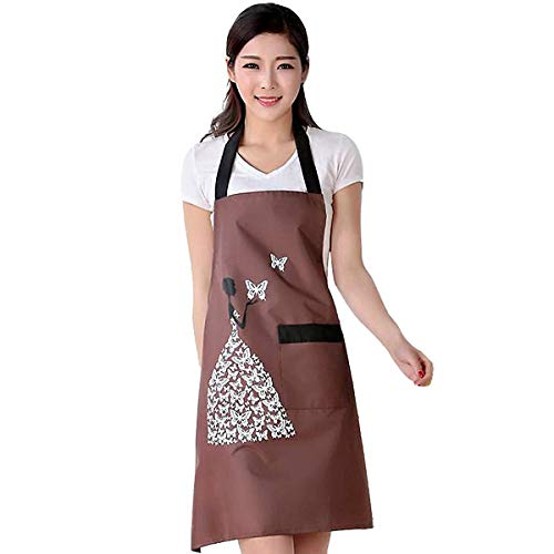 Xiuyang Household Goods Industrial Co., Ltd Men Women Kitchen Cooking Bib Apron Waterproof Aprons Creative Barbecue Baking Aprons with Pockets for Women Men Chef (Coffe)
