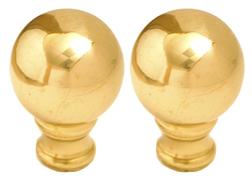 Royal Designs Medium Ball Lamp Finial Polished Brass, 2-Pack, - Finial Lamp Shaped Brass Antique