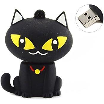 32GB Cute Sitting Cat USB Flash Drive (Black)