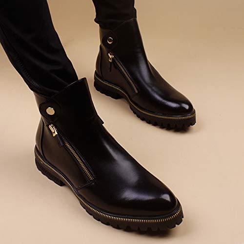 Shukun Herren Stiefel Spitz Leder Stiefel Herren Hohe Stiefel Herren Casual High-Top-Schuhe Warm Martin Stiefel